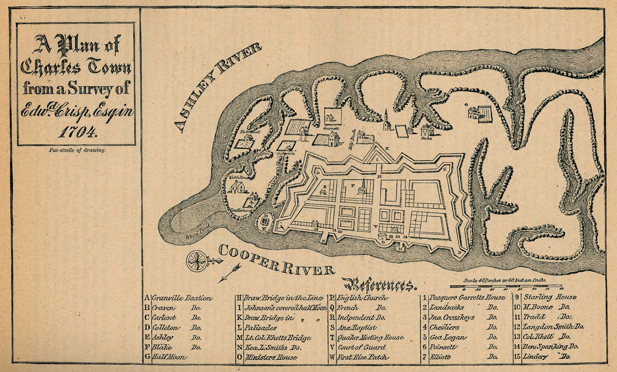 Map Of Charelston 1704